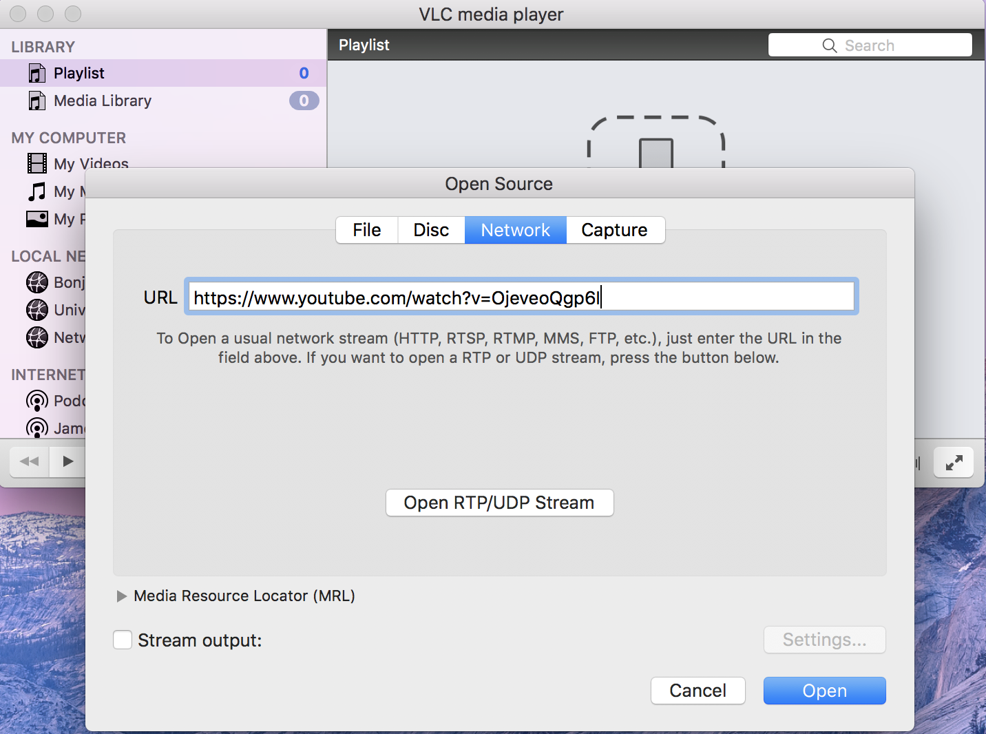 VLC download YouTube video to MP4 on Mac