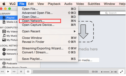 Launch VLC on your Mac and Open Network