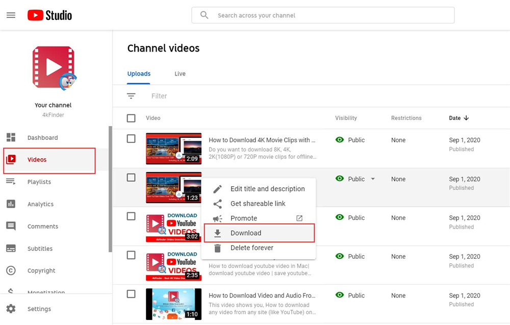 download a copy of your own YouTube video