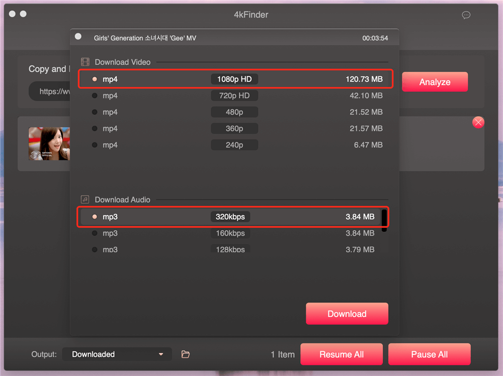 Select MP4 Format and Resolution