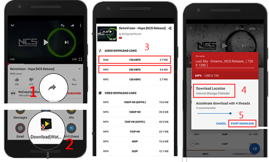 download youtube playlists in mp3 and m4a on android