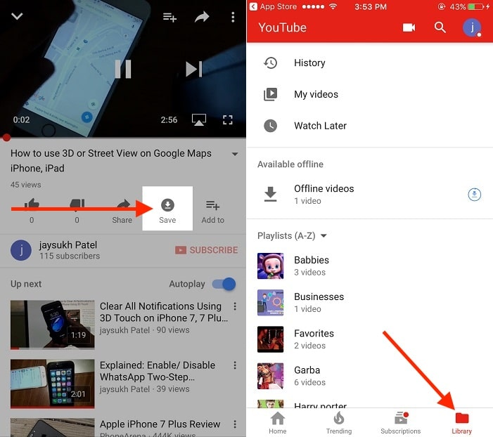 download YouTube video for offline playback on iPhone