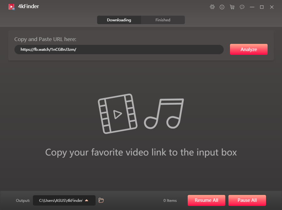 paste the video url to the fackbook video downloader