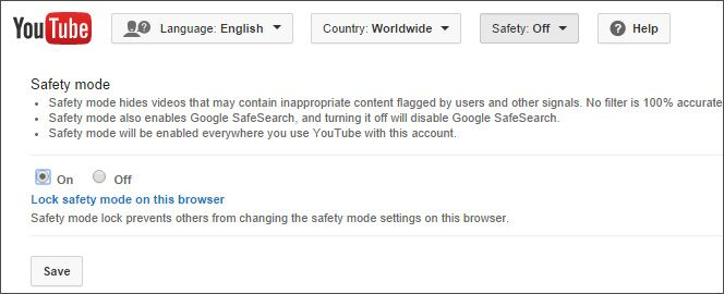 disable safety mode on youtube