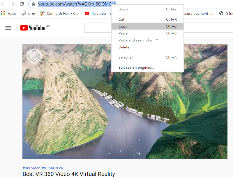 copy 360 vr video link on youtube