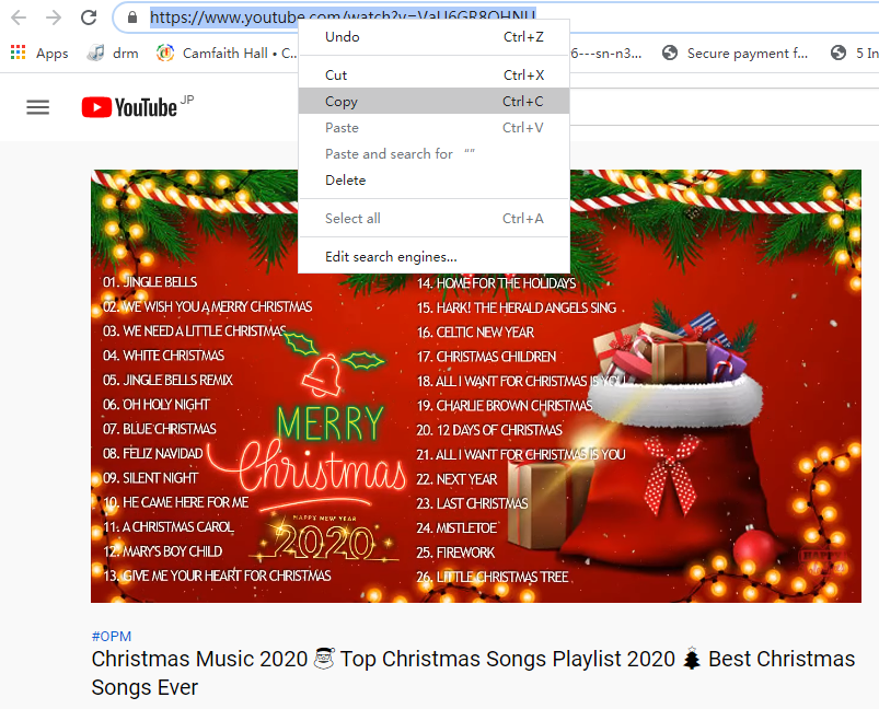 copy christmas music link